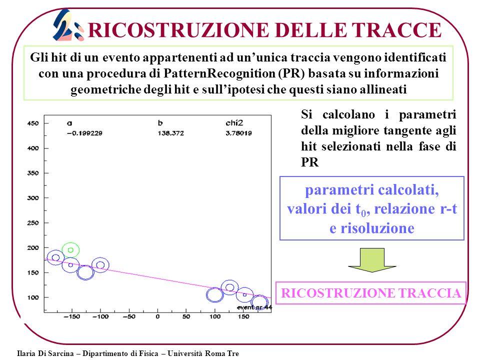 parametri calcolati, valori dei t0, relazione r-t e risoluzione