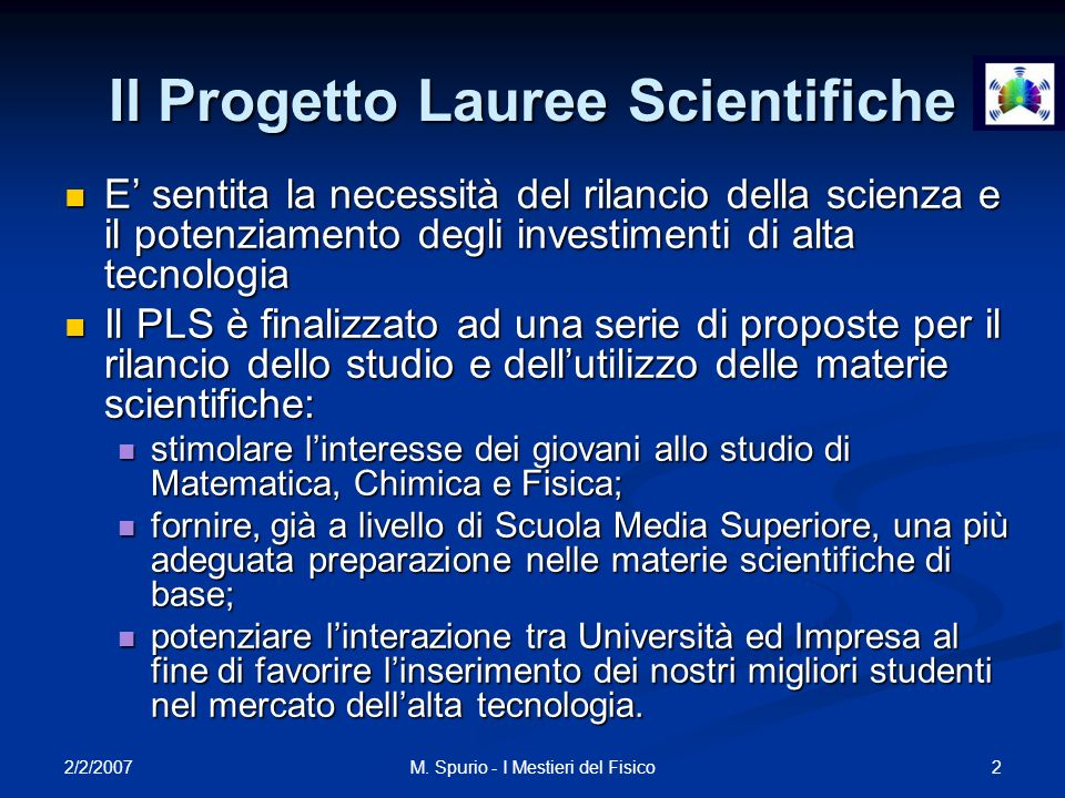 Il Progetto Lauree Scientifiche