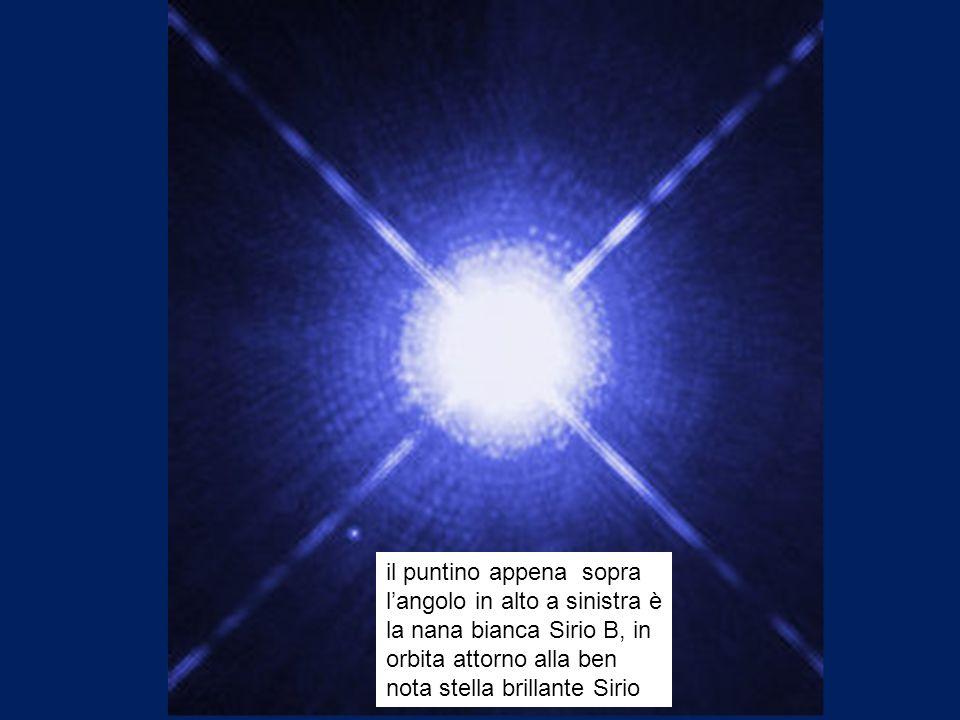 il puntino appena sopra l'angolo in alto a sinistra è la nana bianca Sirio B, in orbita attorno alla ben nota stella brillante Sirio