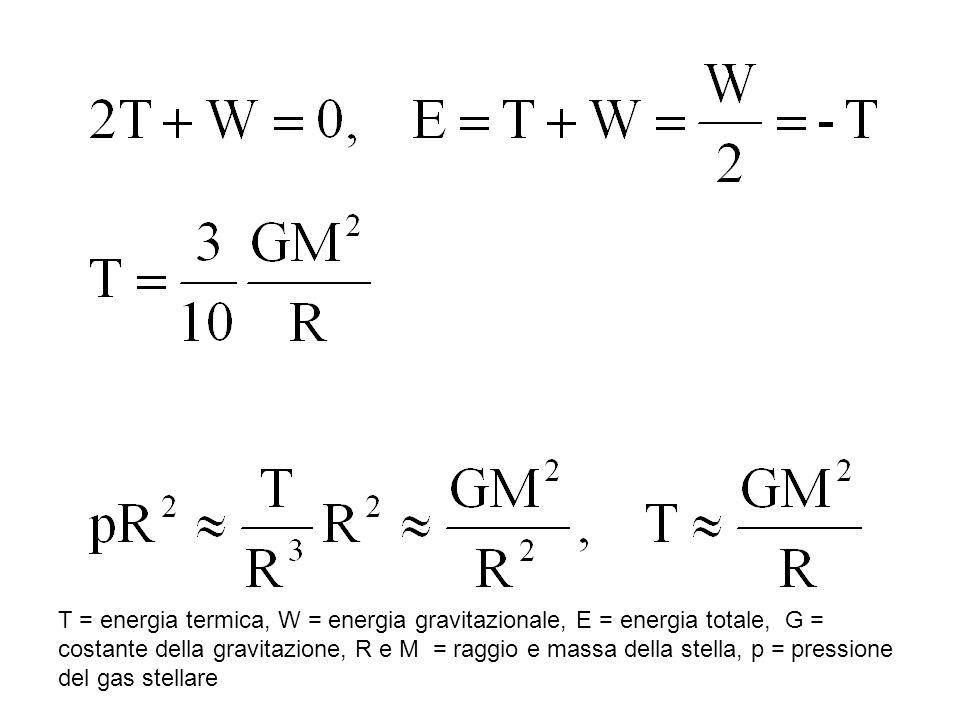 T = energia termica, W = energia gravitazionale, E = energia totale, G =