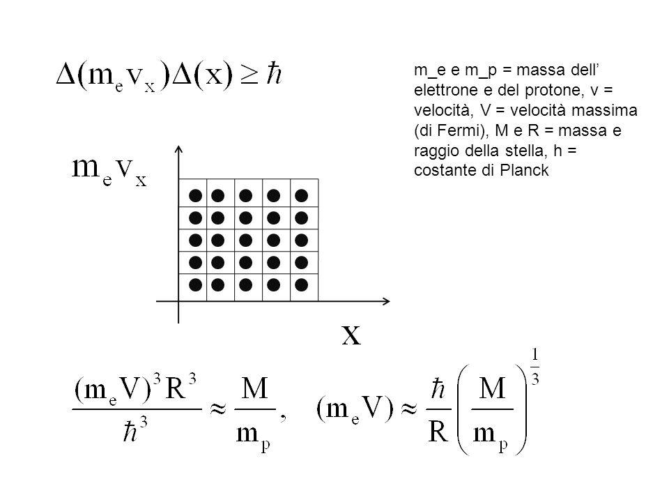 m_e e m_p = massa dell' elettrone e del protone, v = velocità, V = velocità massima (di Fermi), M e R = massa e raggio della stella, h = costante di Planck