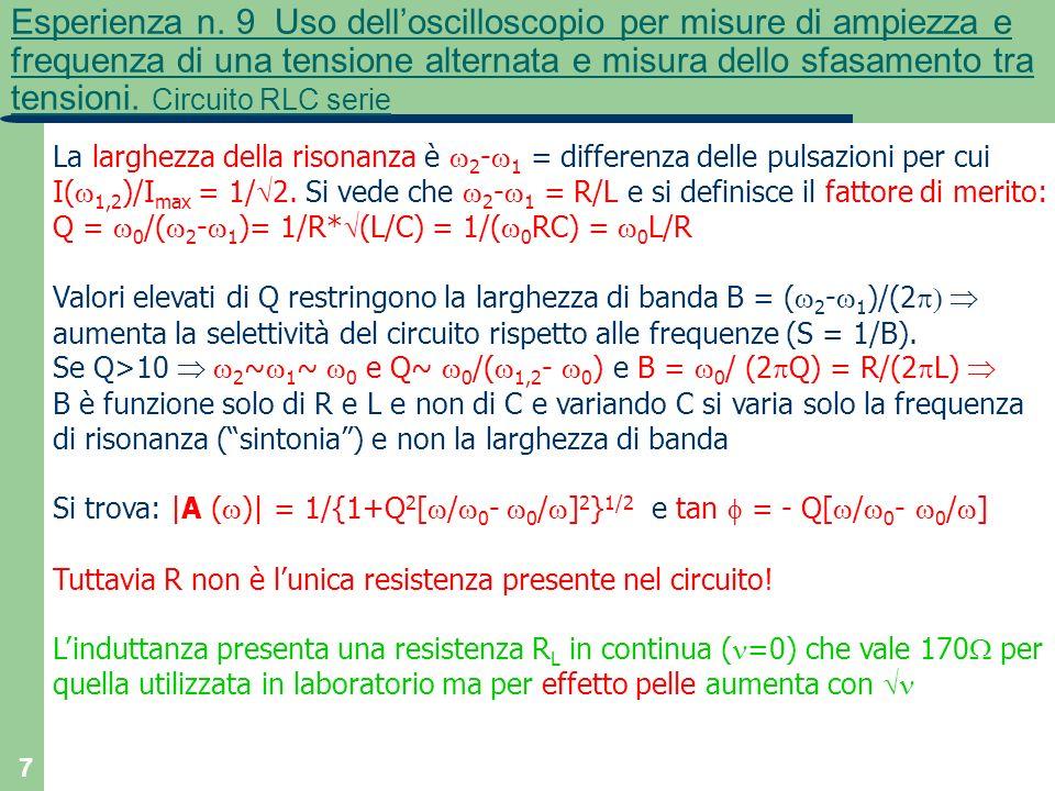 Esperienza n. 9 Uso dell'oscilloscopio per misure di ampiezza e frequenza di una tensione alternata e misura dello sfasamento tra tensioni. Circuito RLC serie