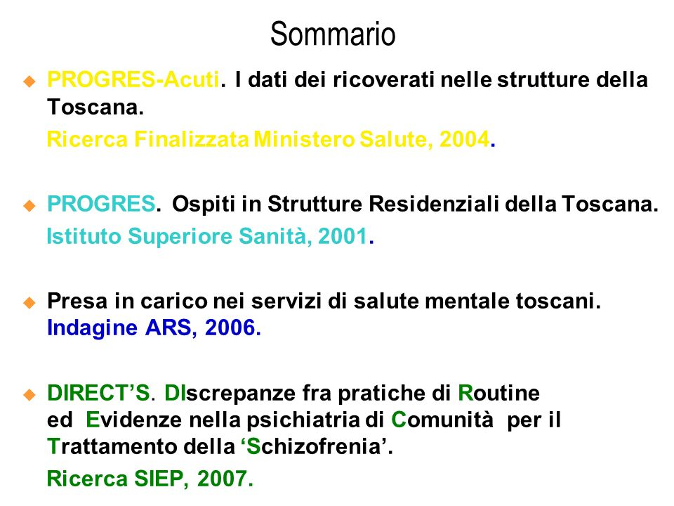 Sommario PROGRES-Acuti. I dati dei ricoverati nelle strutture della Toscana. Ricerca Finalizzata Ministero Salute, 2004.