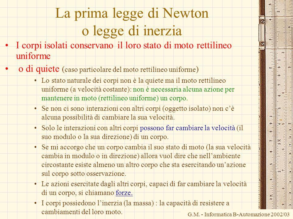 La prima legge di Newton o legge di inerzia