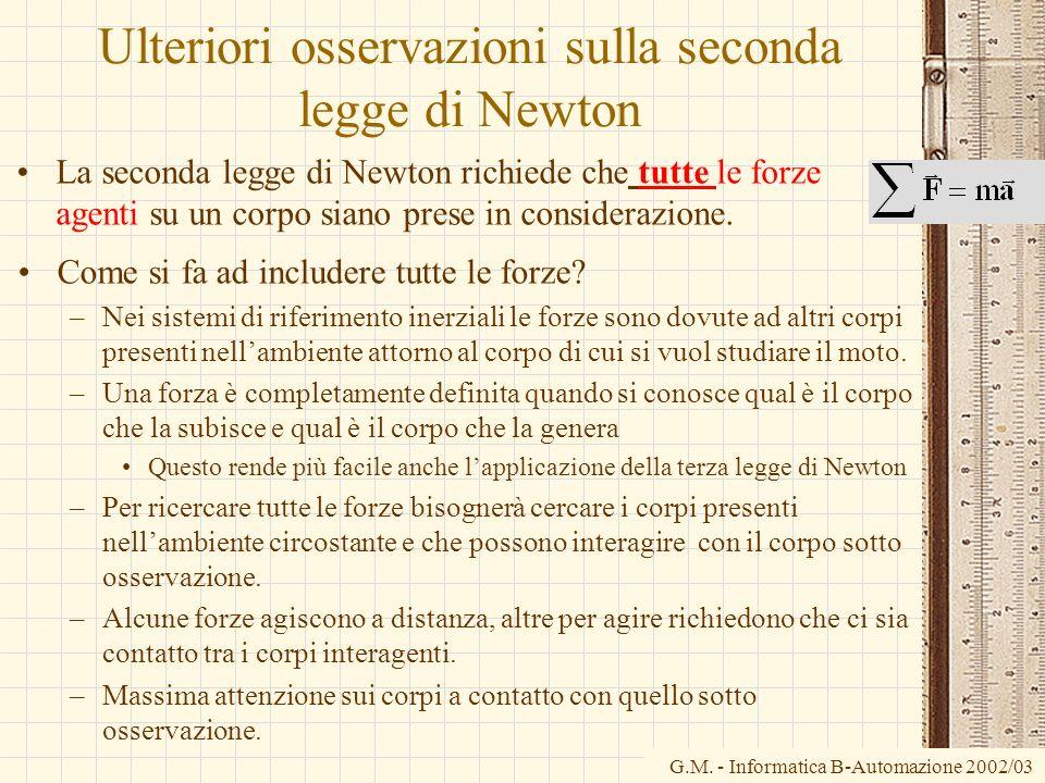 Ulteriori osservazioni sulla seconda legge di Newton