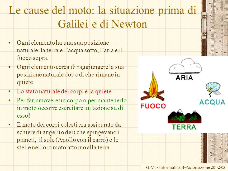 Le cause del moto: la situazione prima di Galilei e di Newton