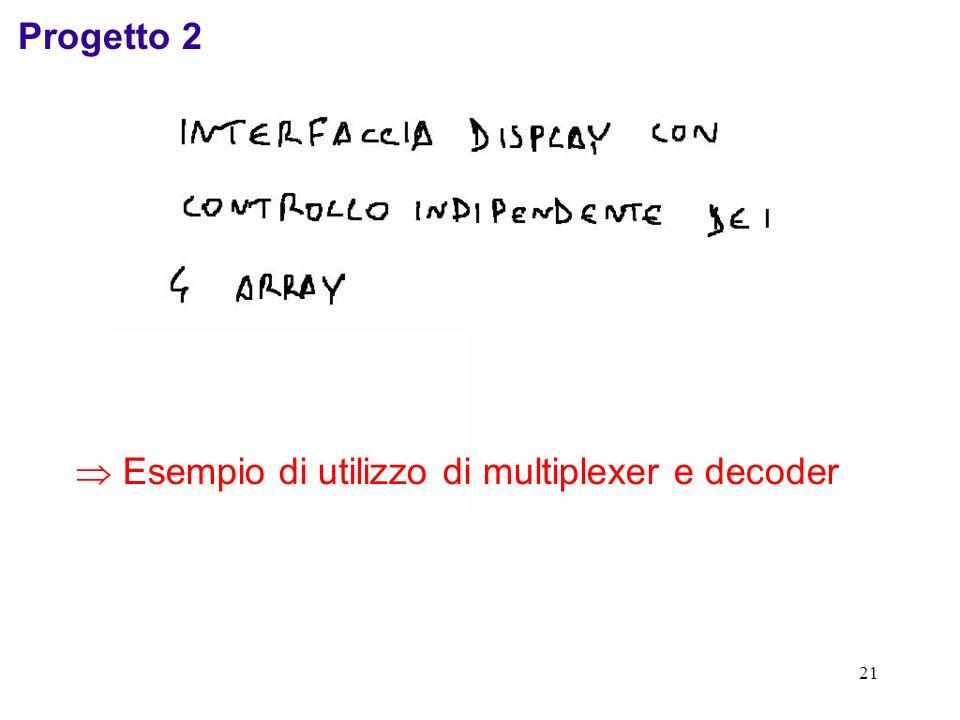Progetto 2  Esempio di utilizzo di multiplexer e decoder