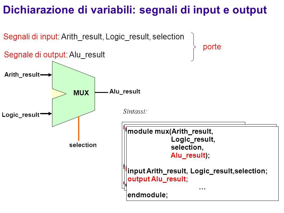 Dichiarazione di variabili: segnali di input e output