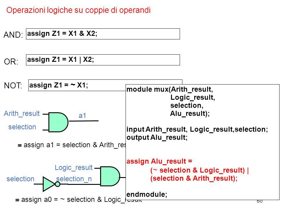 Operazioni logiche su coppie di operandi