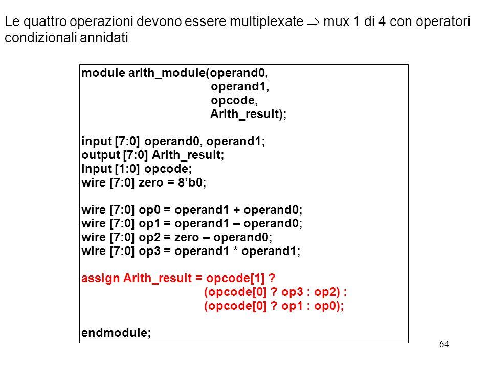 Le quattro operazioni devono essere multiplexate  mux 1 di 4 con operatori condizionali annidati