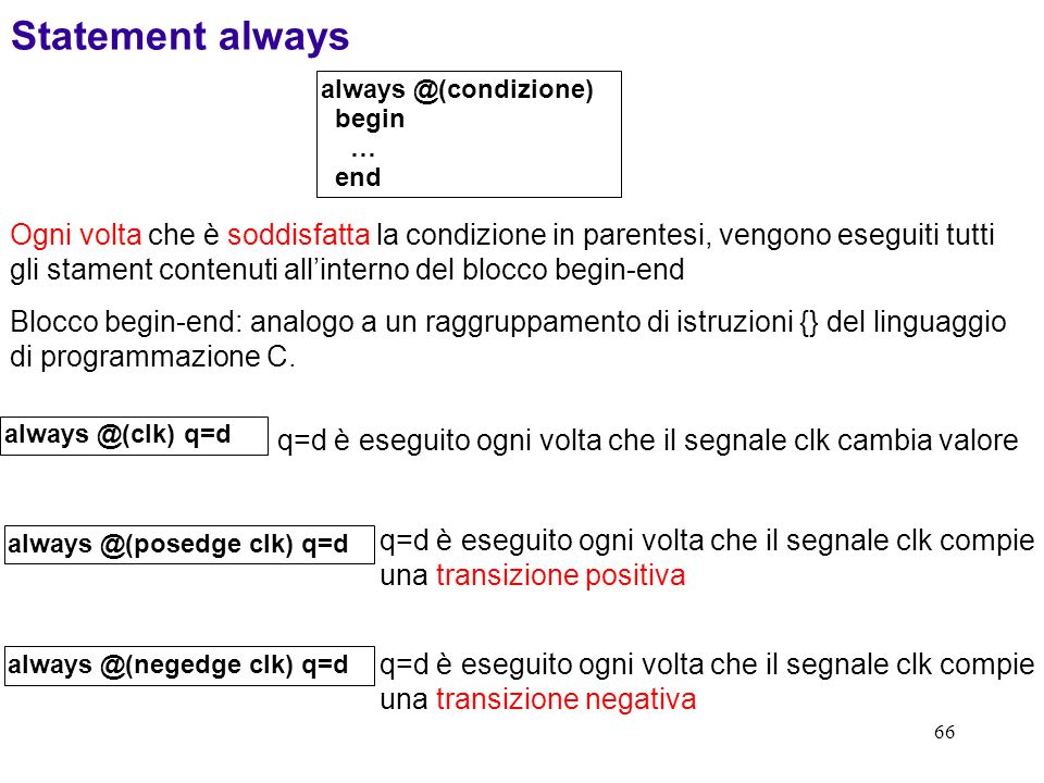 Statement always always @(condizione) begin. … end.