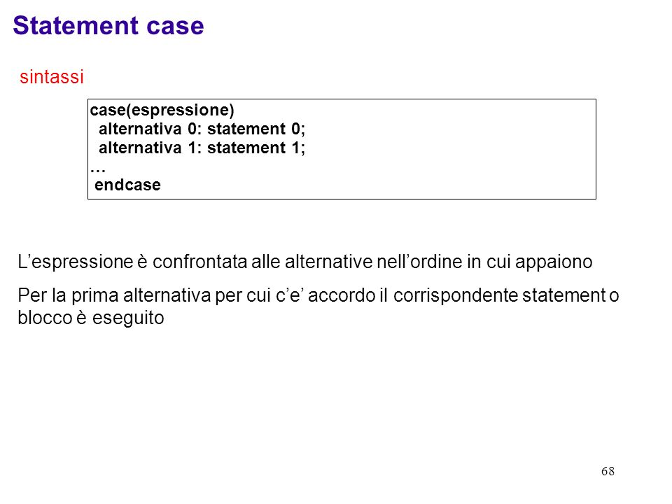 Statement case sintassi