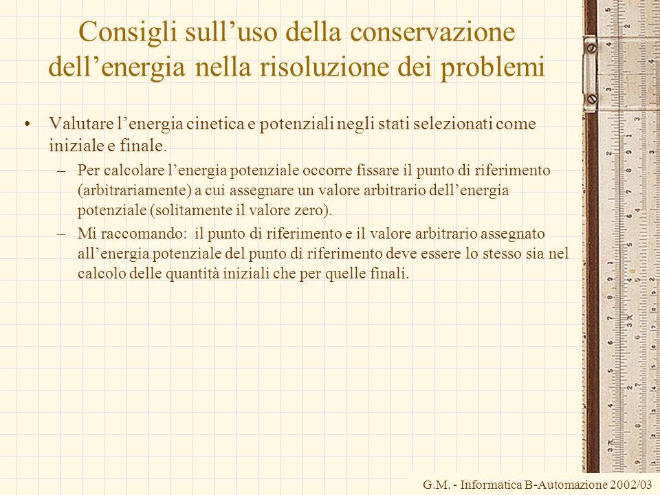 Consigli sull'uso della conservazione dell'energia nella risoluzione dei problemi