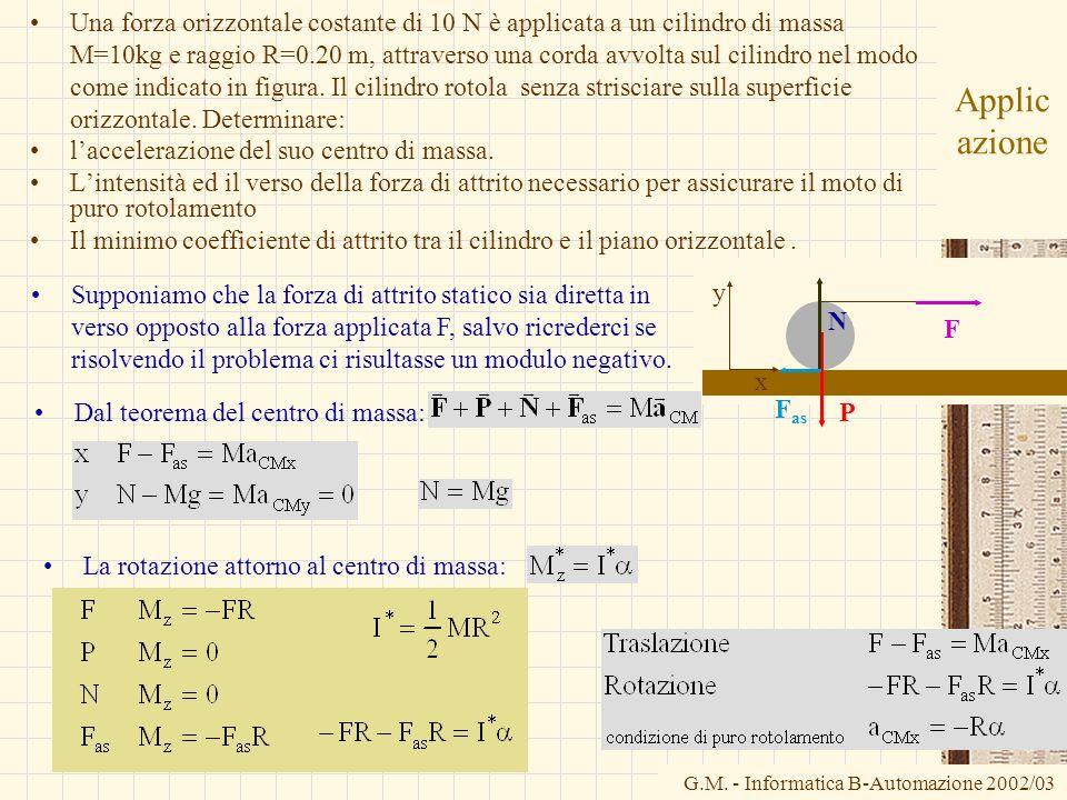 Una forza orizzontale costante di 10 N è applicata a un cilindro di massa M=10kg e raggio R=0.20 m, attraverso una corda avvolta sul cilindro nel modo come indicato in figura. Il cilindro rotola senza strisciare sulla superficie orizzontale. Determinare: