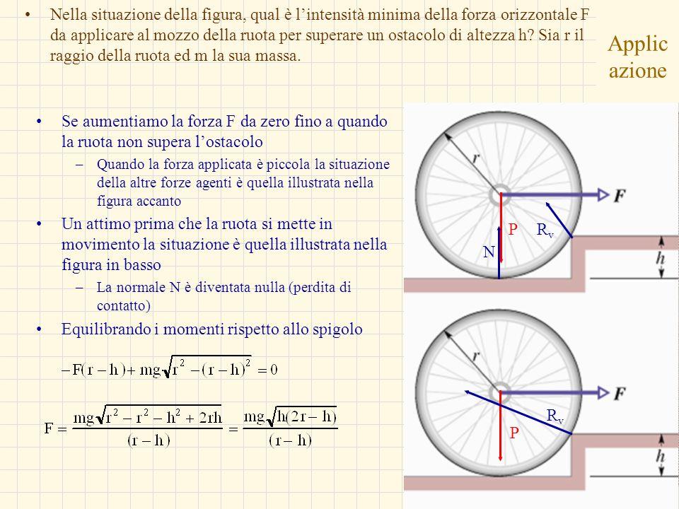 Nella situazione della figura, qual è l'intensità minima della forza orizzontale F da applicare al mozzo della ruota per superare un ostacolo di altezza h Sia r il raggio della ruota ed m la sua massa.