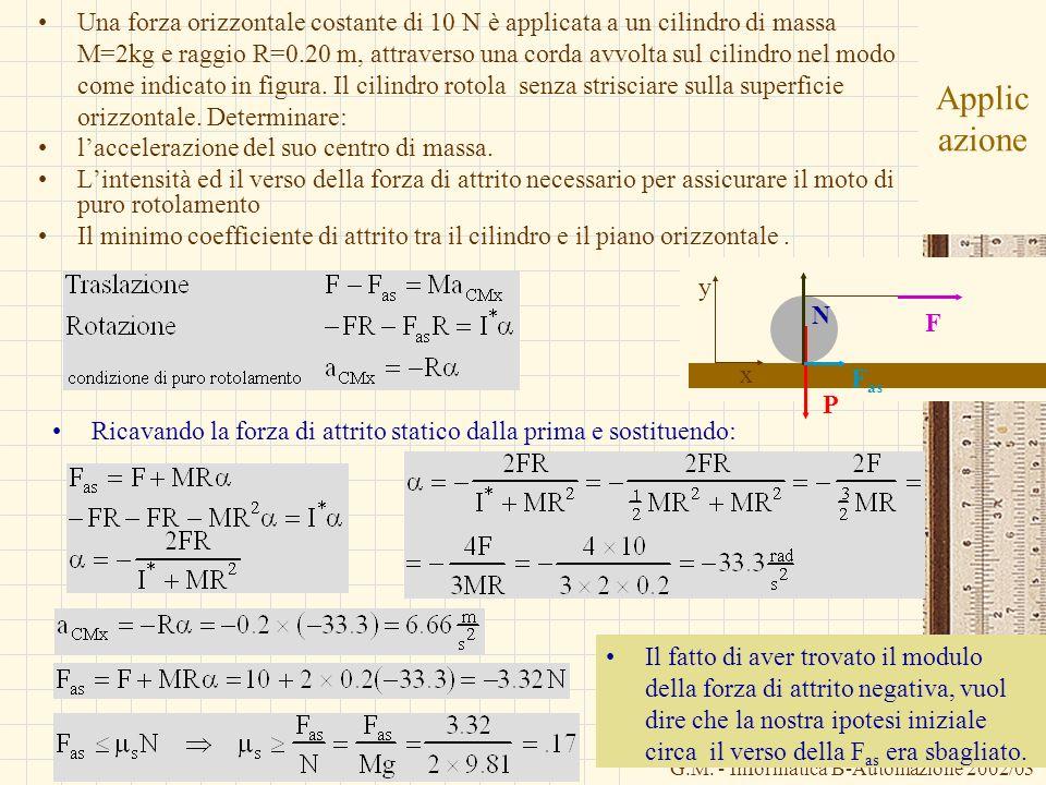 Una forza orizzontale costante di 10 N è applicata a un cilindro di massa M=2kg e raggio R=0.20 m, attraverso una corda avvolta sul cilindro nel modo come indicato in figura. Il cilindro rotola senza strisciare sulla superficie orizzontale. Determinare: