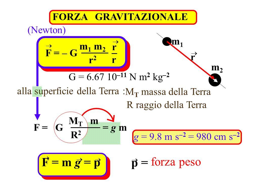 F = m g = p forza peso p = FORZA GRAVITAZIONALE (Newton) m1 m1 m2 r