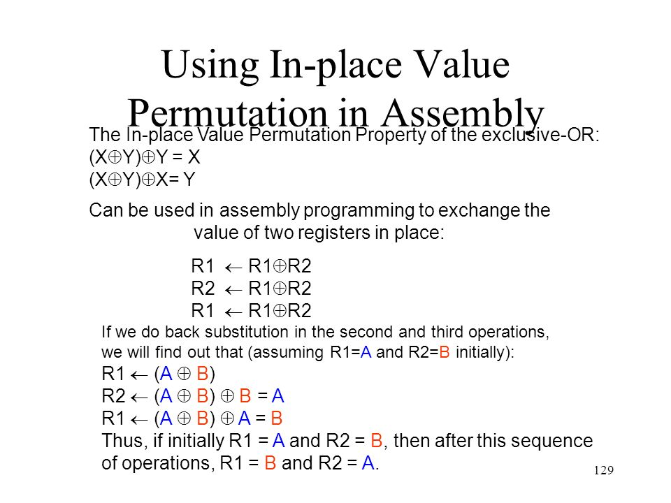 Using In-place Value Permutation in Assembly