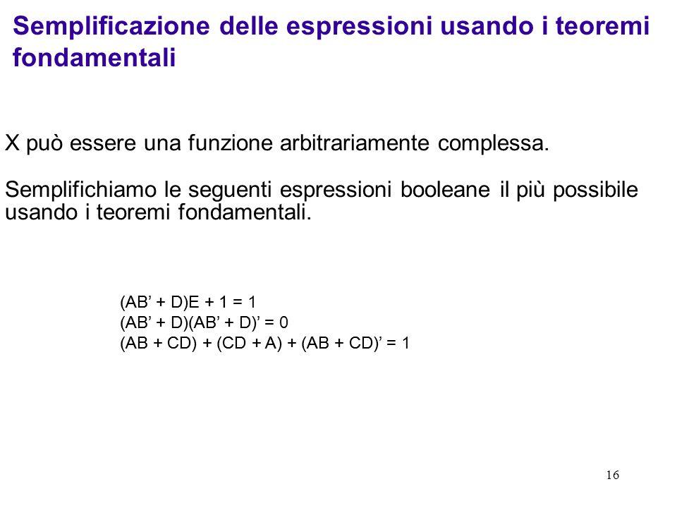 Semplificazione delle espressioni usando i teoremi fondamentali