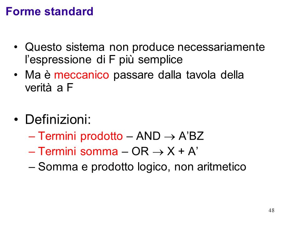 Definizioni: Forme standard