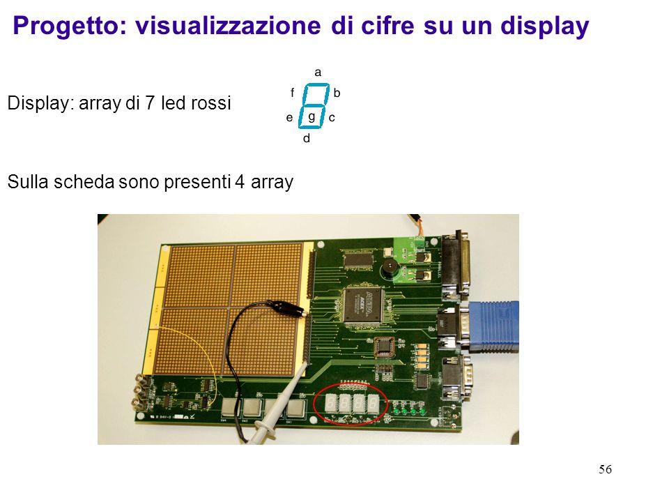 Progetto: visualizzazione di cifre su un display
