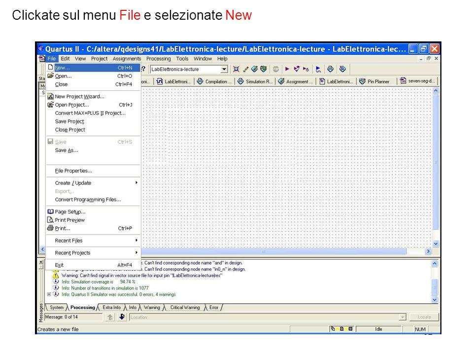 Clickate sul menu File e selezionate New