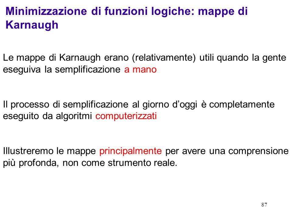 Minimizzazione di funzioni logiche: mappe di Karnaugh