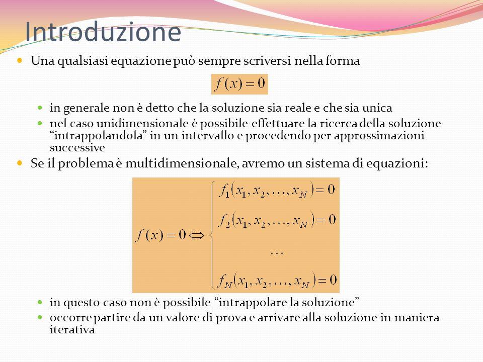 Introduzione Una qualsiasi equazione può sempre scriversi nella forma