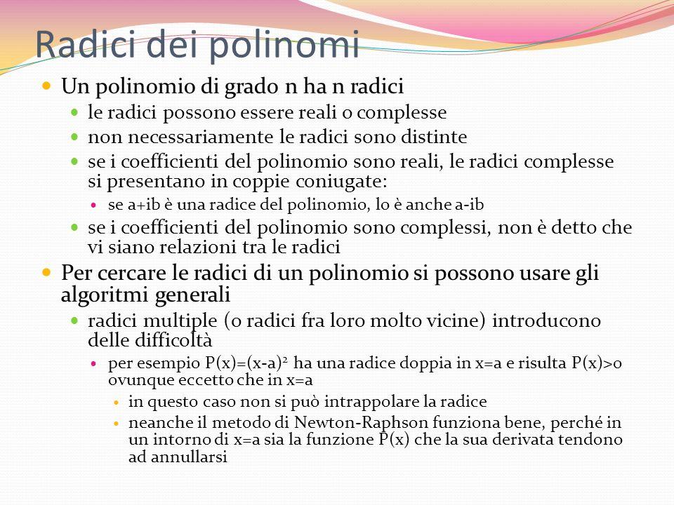 Radici dei polinomi Un polinomio di grado n ha n radici