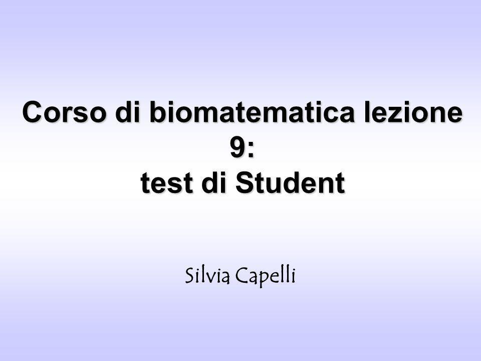 Corso di biomatematica lezione 9: test di Student