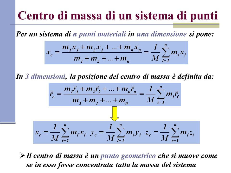 Centro di massa di un sistema di punti
