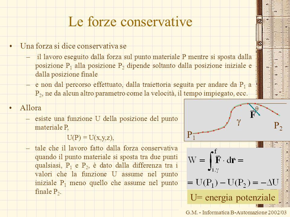 Le forze conservative g P2 P1 U= energia potenziale