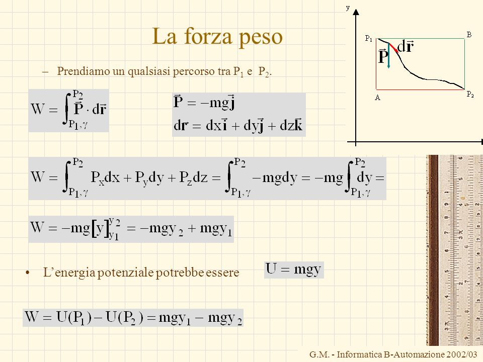 La forza peso L'energia potenziale potrebbe essere