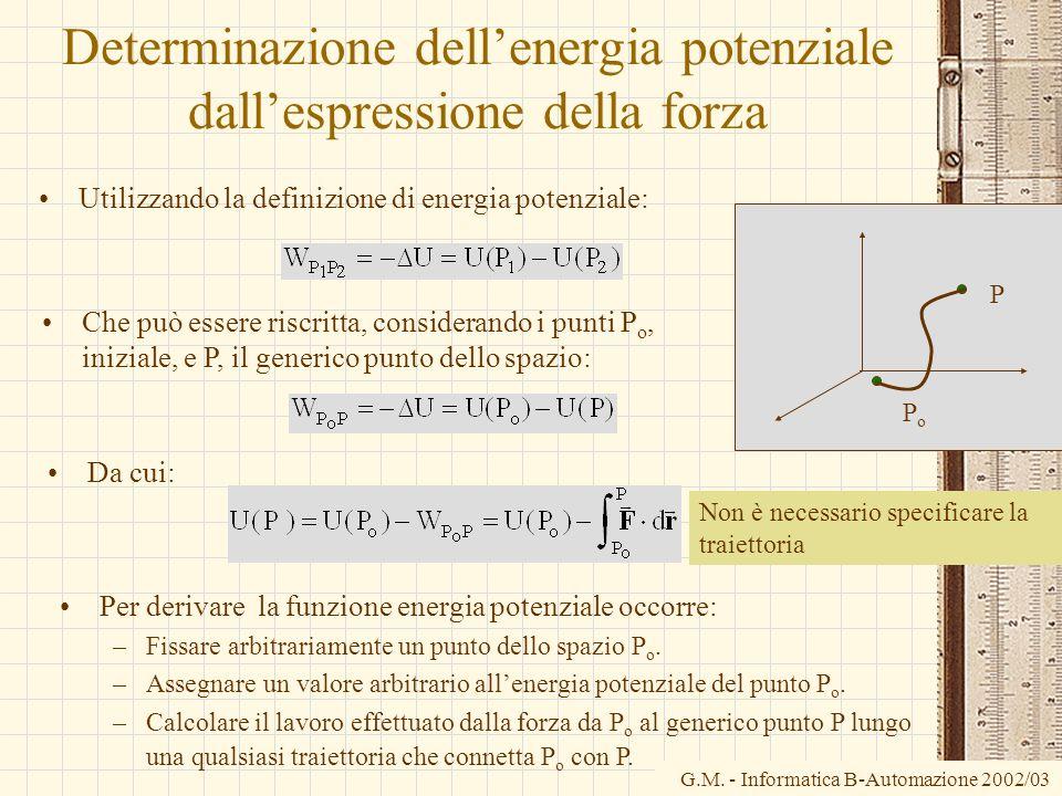 Determinazione dell'energia potenziale dall'espressione della forza