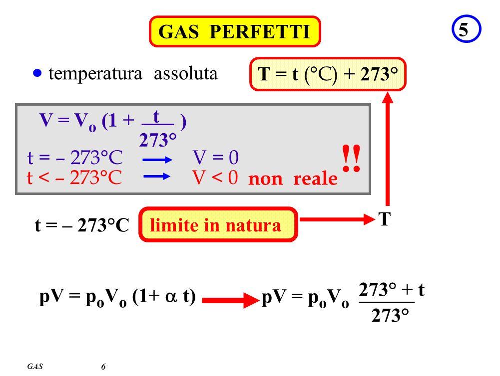 ! ! GAS PERFETTI 5 temperatura assoluta T = t (°C) + 273°
