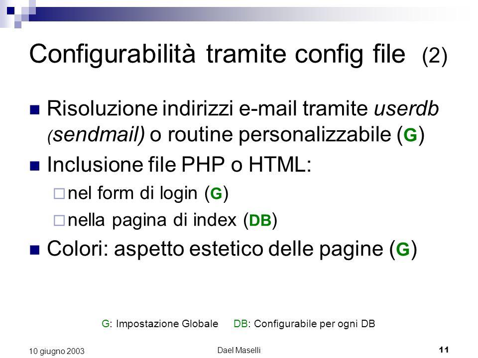 G: Impostazione Globale DB: Configurabile per ogni DB