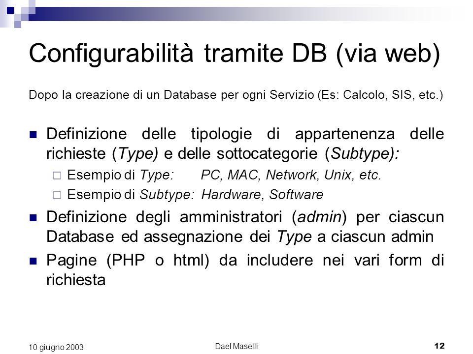 Configurabilità tramite DB (via web)