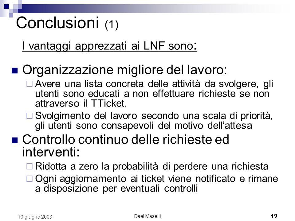 Conclusioni (1) I vantaggi apprezzati ai LNF sono: