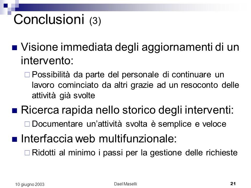 Conclusioni (3) Visione immediata degli aggiornamenti di un intervento: