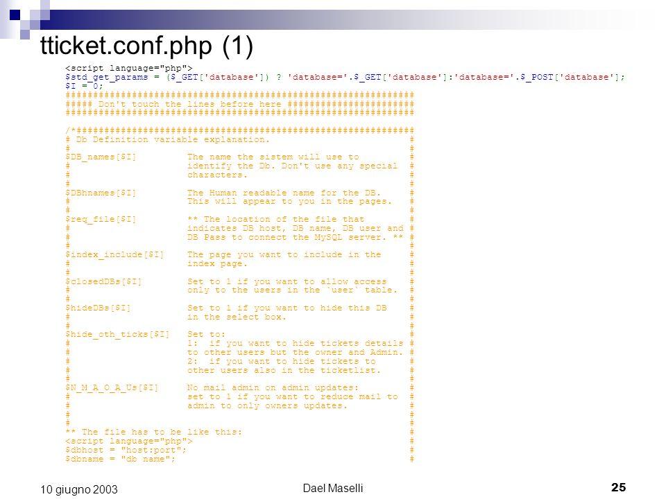 tticket.conf.php (1) 10 giugno 2003 Dael Maselli