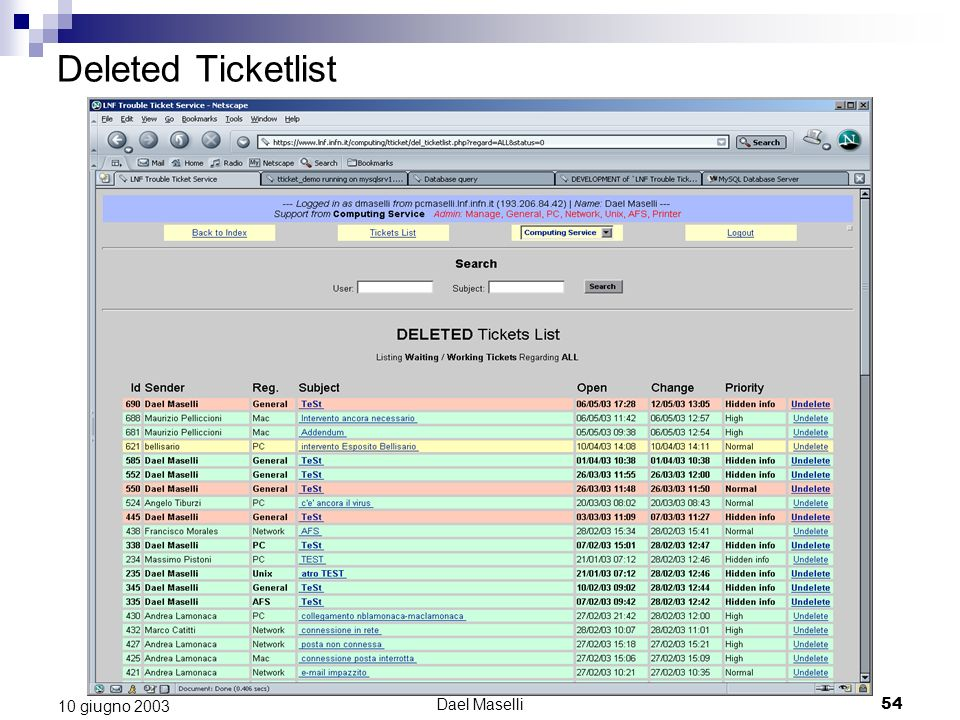 Deleted Ticketlist 10 giugno 2003 Dael Maselli