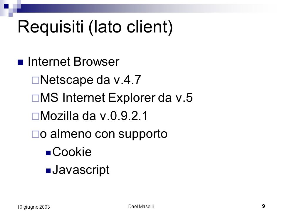 Requisiti (lato client)