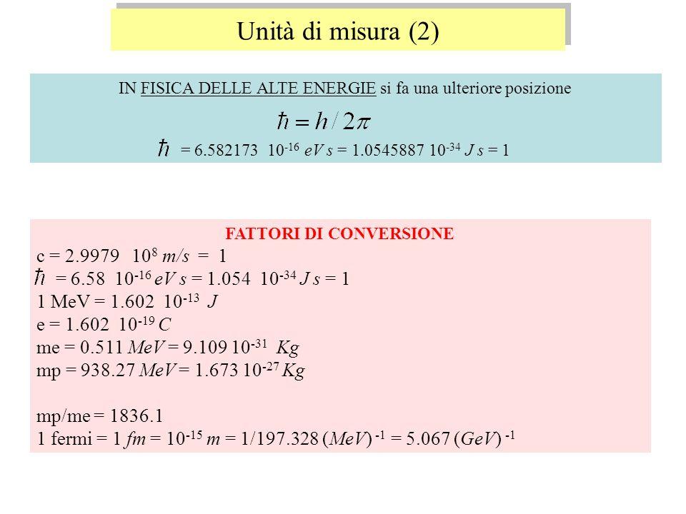 Unità di misura (2) c = 2.9979 108 m/s = 1