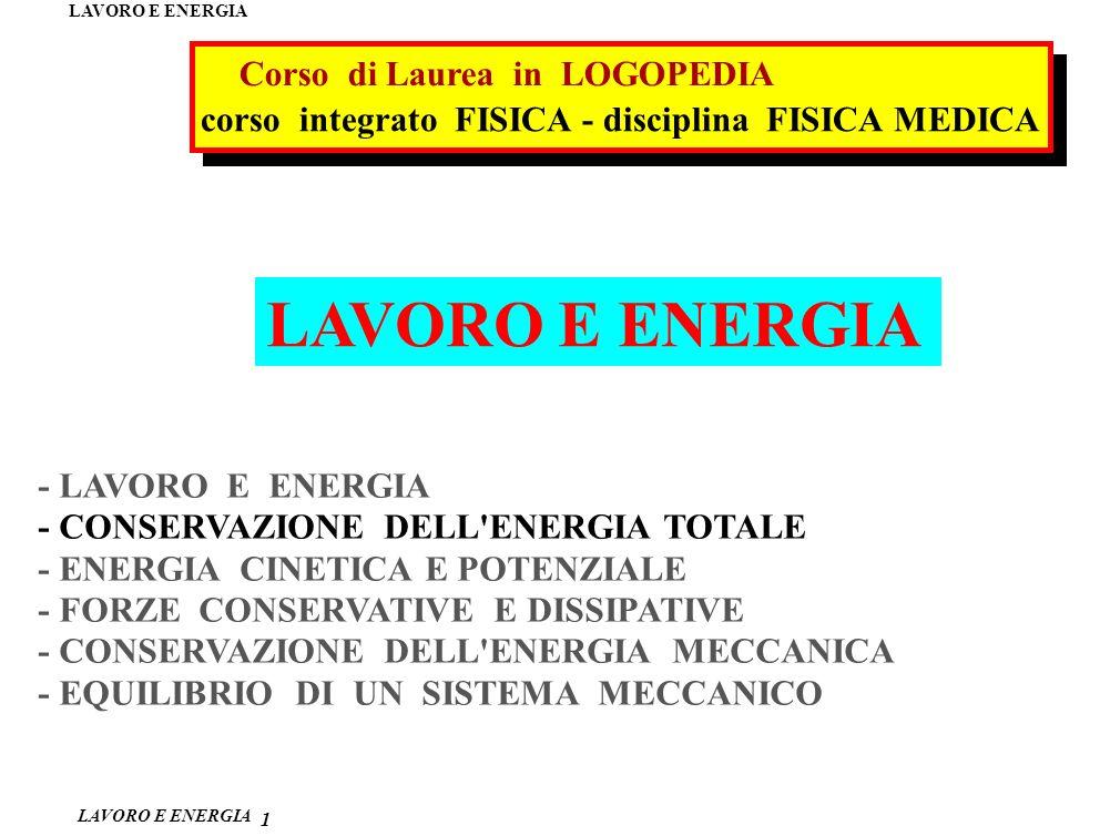 LAVORO E ENERGIA Corso di Laurea in LOGOPEDIA