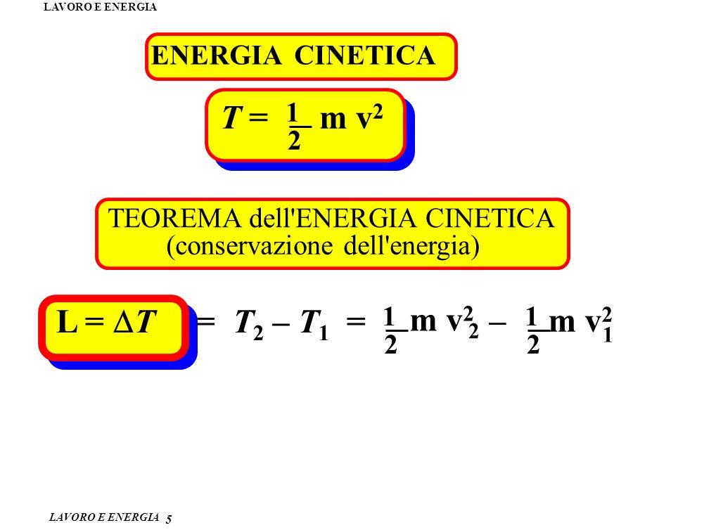 T = m v2 L = DT = T2 – T1 = m v2 – m v2 2 1 ENERGIA CINETICA 1 2
