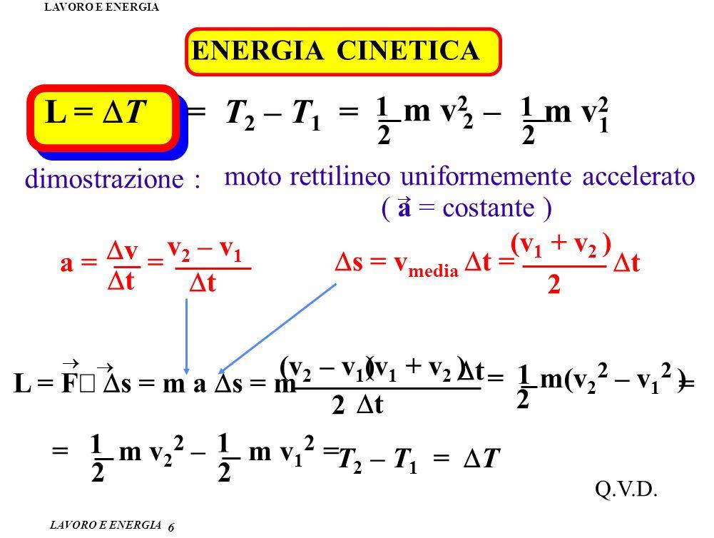 L = DT = T2 – T1 = m v2 2 1 – m v2 ENERGIA CINETICA dimostrazione :