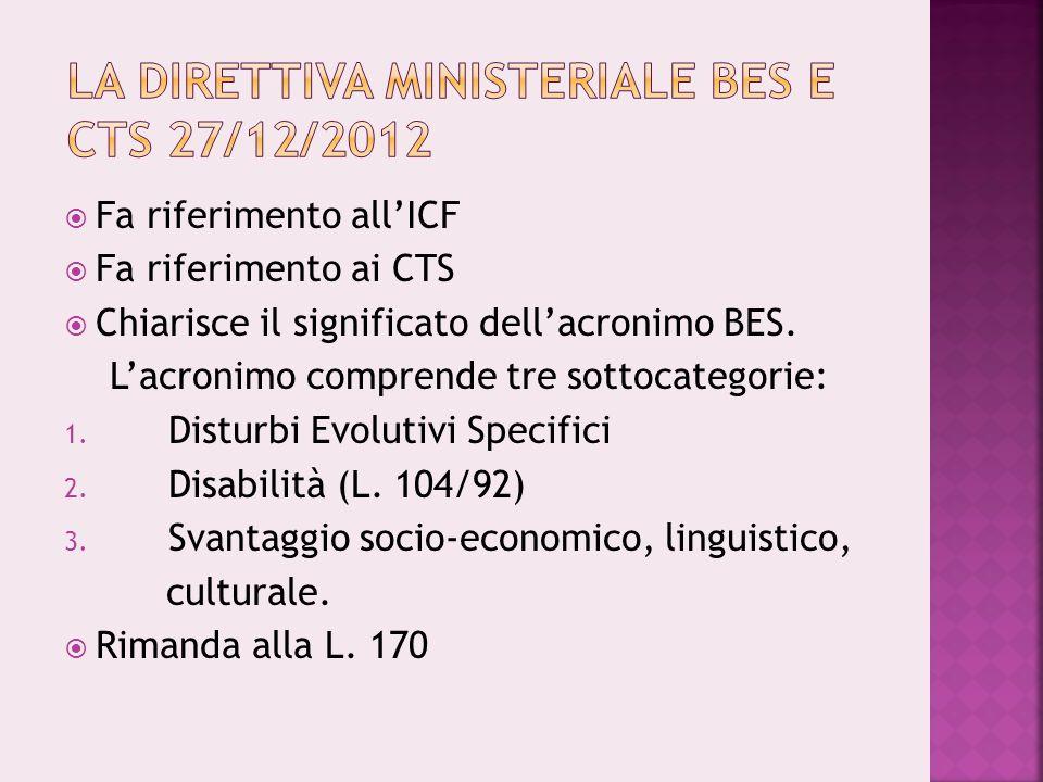La Direttiva Ministeriale BES e CTS 27/12/2012