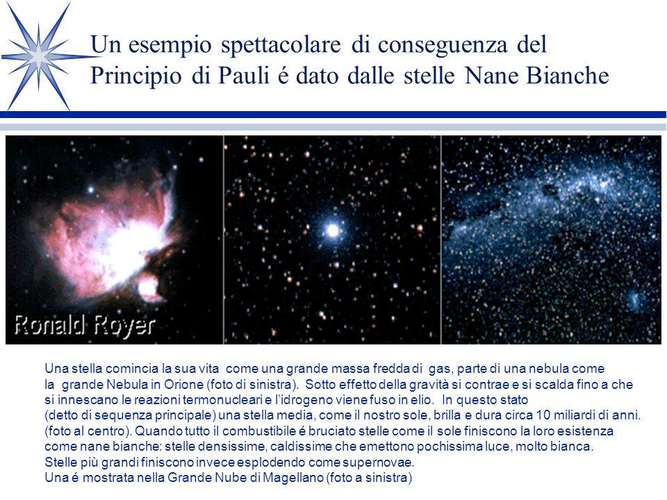 Un esempio spettacolare di conseguenza del Principio di Pauli é dato dalle stelle Nane Bianche