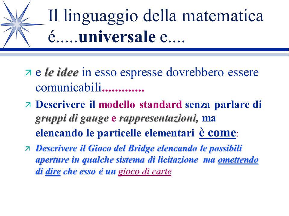 Il linguaggio della matematica é.....universale e....