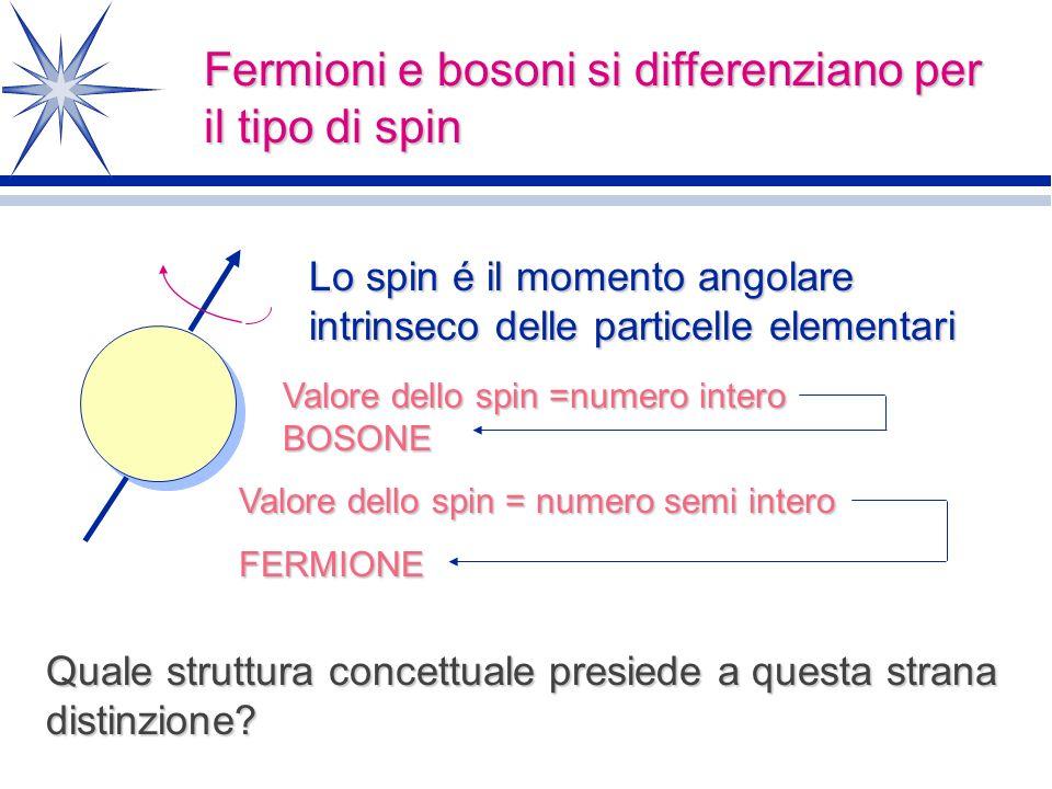 Fermioni e bosoni si differenziano per il tipo di spin